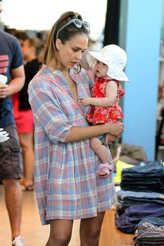 Jessica Alba, husband Cash Warren and their daughters Honor Marie and Haven Garner have lunch as a family before shopping at Kitson in West Hollywood