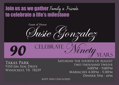 90th birthday invitation wording - Google Search