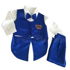 New Boy Baby Kid Wedding Formal Party Black 5pc Double Breast Suit Tuxedo sz S-7