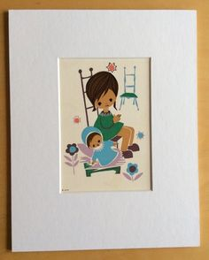 Jaklien Moerman Retro Postcard mounted and ready to frame Mother and Baby