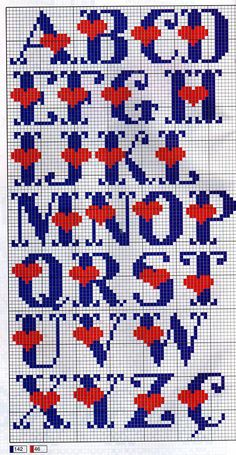 Nice bold cross stitch alphabet with hearts Punto De Cruz - Abecedario Con Corazones Crochet Alphabet, Crochet Letters, Cross Stitch Alphabet Patterns, Embroidery Alphabet, Cross Stitch Letters, Cross Stitch Heart, Cross Stitch Designs, Embroidery Patterns, Stitch Patterns