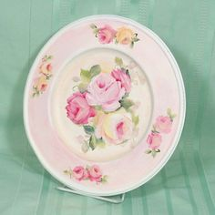 Karen Daugherty creates beautiful pieces, by re-purposing silver-plated ware, such as this tray she has decorated with hand painted roses in pinks and creams. Very clever Karen! Decorative Paintings, Decorative Plates, Painted Roses, Hand Painted, Painted Cottage, Rose Cottage, Painted Porcelain, Pattern Art, Art Decor