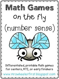 "Help your little ones develop a strong number sense with this ""Math Games on the Fly"" set! These games are all printable in black and white and do not require any cutting or laminating! Most of the games included have two options {easy and on-level} for differentiation."