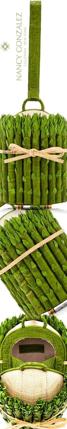 ❈Téa Tosh❈ Nancy Gonzalez, Asparagus Crocodile Novelty Clutch #nancygonzalez #teatosh Blue Bags, Fresh Vegetables, Love And Light, Colorful Fashion, Farmers Market, Kiwi, Crocodile, Olive Green, Sage