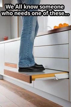 Genius idea for kitchen. Cuts need for dragging a stool around to reach high shelves.