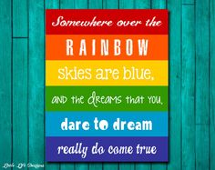 Rainbow Wall Art. Childrens Decor. Somewhere by LittleLifeDesigns, $8.00