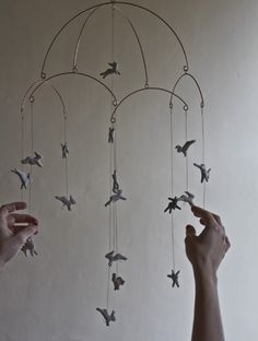 Leaping Rabbits Mobile Art mobile baby mobile nursery by POAST, Diy Mobile, Mobile Art, Hanging Mobile, Mobil Origami, Cortinas Shabby Chic, Childrens Room, Rabbit Jumping, Model Magic, Conkers