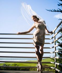 A wedding photo shoot with ballet poses.