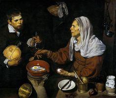 VELÁZQUEZ - Vieja friendo huevos (National Galleries of Scotland, 1618. Óleo sobre lienzo, 100.5 x 119.5 cm) - Diego Velázquez - Wikipedia, la enciclopedia libre