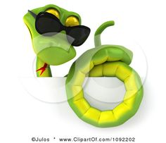 Clipart 3d Green Snake Wearing Shades Over A Sign 2 - Royalty Free CGI Illustration by Julos