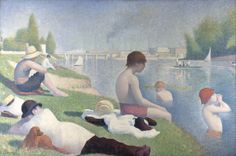 """""""Bathers at Asnières"""" by Georges Seurat. oil on canvas. In the collection of The National Gallery, London. The finished painting for which Seurat made many studies, including one at The Cleveland (OH) Museum of Art. Georges Seurat, Albertina Wien, Seurat Paintings, Oil Paintings, Paul Signac, National Gallery, Impressionist Art, French Art, Famous Artists"""