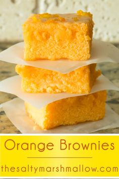 These orange brownies are an incredibly easy recipe – glazed, moist, chewy, fudgy brownies! All of the brownie texture we love to sink our teeth into with yummy orange flavor taking the place of traditional chocolate! Orange Brownies, Brownie Recipes, Cookie Recipes, Dessert Recipes, Bon Dessert, Dessert Bars, Just Desserts, Delicious Desserts, Yummy Food