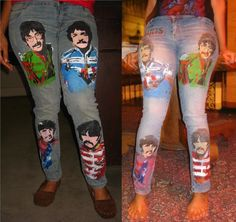 Hand-painted Beatles jeans!