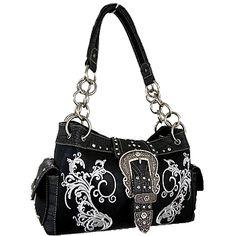 $44.95 Montana West Black Tooled Handbag