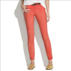 Madewell skinny skinny coral color jeans Gorgeous color for spring Madewell Jeans Skinny