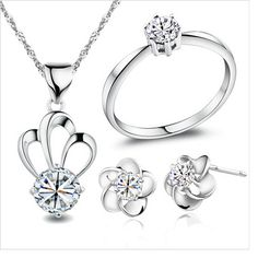 Barato Jóias 925 Sterling Silver Crown colar brincos anéis Cubic Zirconia dia dos namorados, Compro Qualidade Tintas de impressão diretamente de fornecedores da China: