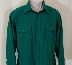 PENDLETON Shirt Men Size L 100% VIRGIN WOOL Green Pockets Button Up Long Sleeve #Pendleton #ButtonFront
