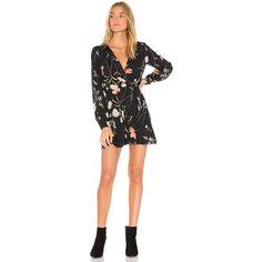 FLYNN SKYE Mini Dress ($160) ❤ liked on Polyvore featuring dresses, surplice dress, flynn skye dress, button dress, cross over dress and sleeved dresses