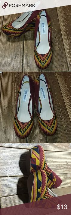 Steve Madden Tribal Print Wedges Heels Steve Madden Tribal Print Wedge Heels. Very pretty shoes. I actually just bought them from someone on Poshmark, but they are a little too narrow for my foot. Size 7.5. I love them so much! They are in perfect condition Steve Madden Shoes Wedges