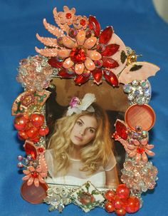 Orange Flower Jeweled Rhinestone Picture Frame by KatsCollection, $89.99