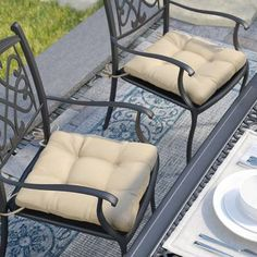 Charlton Home Indoor Dining Chair Cushion Color: Egg Shell Custom Outdoor Cushions, Outdoor Lounge Chair Cushions, Outdoor Chairs, Outdoor Furniture Sets, Diy Furniture, Adirondack Chairs, Indoor Outdoor, Dining Chairs, Dining Room