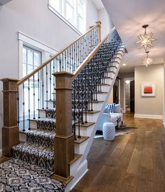 Shingle Style Home with Casual Coastal Interiors - Home Bunch Interior Design Ideas House, Redo Stairs, Shingle Style, Staircase Design, Coastal Interiors, Shingle Style Homes, House Plans, Open Staircase, Stairs