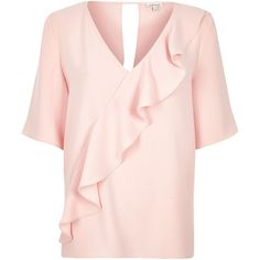 On SALE at 58% OFF! light pink frill front t-shirt by River Island. Soft woven fabric Relaxed fit V-neck Short wide sleeves Frill front trim Open back