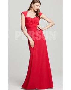 Ruching Sweetheart Cap Sleeve Chiffon Red Column Evening Dress Sale Online - DRESSESMALL