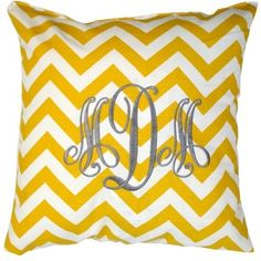 Yellow & White Chevron Throw Pillow.  TIP: One of our favorite suggestions is always to add throw pillows to your registry.  They instantly add style and color to your room.  Take it one step further and add a few monogrammed pillows to make it even more personal.  Our favorites are some of the great pillows Luxury Monograms has to offer in a variety of fabrics and monogram styles.  #wedding #registry #bridal www.newlywish.com