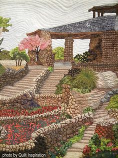 detail, Japanese Tea Garden by Mary Ann Hildebrand. Photo by Quilt Inspiration: Tiny Houses and Miniature Landscape Quilts