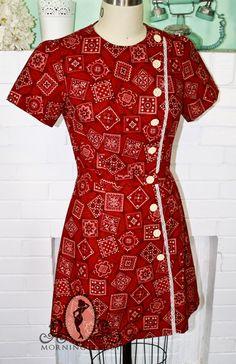 La cahier de 40 ans Style robe-Custom Made Bandana rouge Mini robe imprimée--Allie Hamilton-