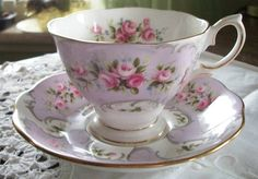 Vintage Royal Albert Rose-Du Barry Series Jeanette Pink Roses on Purple Cup and Saucer Bone China 1960s  ~ I LOVE THIS TEA CUP!!!!
