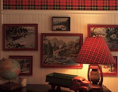 Wainscoting with tartan wallpaper would be a great look! Tartan Wallpaper, Man Cave Office, Lakeside Cottage, Rustic Cabin Decor, Le Far West, Winter House, Paint By Number, Wainscoting, Tartan Plaid