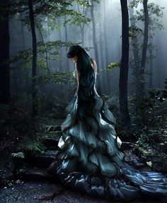 Fantasy image of a black-haired woman wearing a long green and blue dress on stone stairs in a misty forest. Fantasy Kunst, Gothic Fantasy Art, Fantasy Magic, Fantasy World, Dark Side, Misty Night, Emotional Pictures, Steampunk, Fantasy Pictures