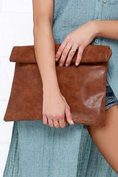 brown leather clutch for casual nights