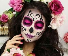 Colorful Sugar Skull Halloween Look ★ A Halloween look without sugar skull makeup is a look wasted! Our tunning ideas with glitter, rhinestones, and the burst of glam colors are here to help you keep up with the fancy Mexican tradition stylishly. Maquillage Sugar Skull, Yeux Halloween, Halloween Nails, Candy Skulls, Sugar Skulls, Sugar Skull Face Paint, Halloween Makeup Looks, Halloween Makeup Sugar Skull, Skull Candy Makeup