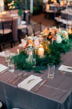 Tablescape, Venue, Scape American Bistro; Flowers, Wildflowers; Planner, Jan Devine; Photo: Mike Cassimatis - Missouri Wedding http://caratsandcake.com/ElizabethandAdnan