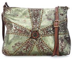 wardow.com - #campomaggi, Fiore Schultertasche Leder metallic green 28 cm