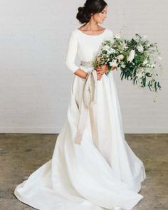 Sleeves Satin Wedding Dresses with Beaded Crystals Belt This is a made-to-order product. This scoop neck wedding dress with wide open. Floral Wedding Gown, Western Wedding Dresses, Elegant Wedding Gowns, Wedding Dress Sleeves, White Wedding Dresses, Bridal Dresses, Ivory Wedding, Gown Wedding, Modest Wedding