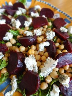 Roasted Beet Salad with Goat Cheese & Chickpeas - I changed the dressing by adding a splash of lemon juice and a bit of agave to sweeten. I also used broccoli, avocado, and pine nuts in the salad. I would take out the goat cheese too. Beet Recipes, Veggie Recipes, Vegetarian Recipes, Cooking Recipes, Healthy Recipes, Vegan Meals, Smoothie Recipes, Roasted Beet Salad, Healthy Vegetarian Recipes