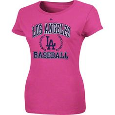 Los Angeles Dodgers Majestic Women's Pink Splash Fresh And Exciting T-Shirt