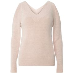 Dorothy Perkins Blush V-Neck Cold Shoulder Jumper (€34) ❤ liked on Polyvore featuring tops, sweaters, pink, pink cold shoulder top, v neck jumper, cut out shoulder sweater, pink jumper and pink v neck sweater