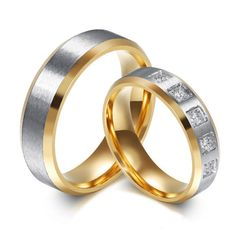 2016 High-Grade 9.9K Gold Titanium Steel Set Auger His And Her Promise Ring The Couple Wedding Rings For Women And Men  XSF006