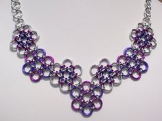Items similar to Japanese Flowers Chain Mail Necklace Purple and Fuchsia Pink Chainmaille Jewelry on Etsy