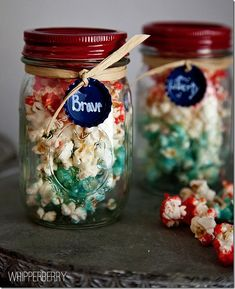 Red White Blue Popcorn in Mason Jars - Mason Jar Recipe Ideas