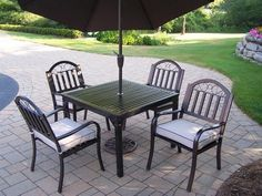 Oakland Living 6135-3830 Rochester 5-Piece Dining Set by Oakland Living. $959.23. Umbrella Color/Type:Brown Tilting, Cushion:Included, Chair Type:Non-Swivel  Oakland Rochester 40'x40' 5-Piece Dining Set  This 40 x 40 inch dining set is the perfect piece for any outdoor dinner setting. Just the right size for any backyard or patio. Table top is 40 inches by 40 inches and has an opening for an umbrella.  Each set includes one table and four dining chairs.  Hardened Powder C...