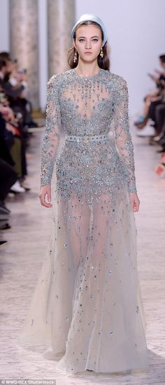 Elie Saab wows with fairytale dresses at Paris show | Daily Mail Online