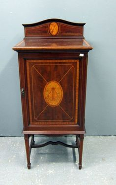 Victorian satinwood inlaid music cabinet