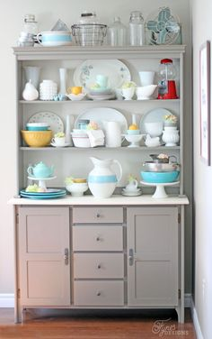 Modern Farmhouse Kitchen hutch - oh gosh... isn't this display gorgeous?!