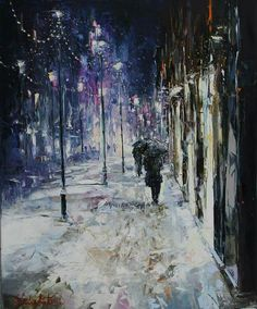 "Gleb Goloubetski - ""Winter Walk - London."" Oil on canvas,  80 cm x 65 cm."